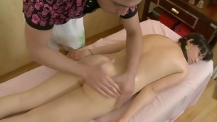 Lass is uncompromisingly aroused after massage and gets dropped fucking
