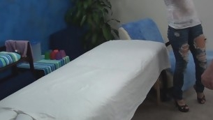 Auric beauty takes off garments and underware slowly and then lies on massage table. Impressive masseur enters the room and this babe becomes turned on seeing him. The girlie makes a decision to entice him to fuck herтАж