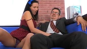 Chick is charming teacher's sportswoman with zealous blow job