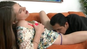 Barely legal sweetheart acquires a lusty thrashing from horny stumbling-block