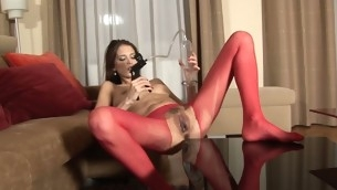 Tough hotty is delighting her twat with a huge toy