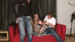 Doctor is examing playgirl's virginity in front of 2 studs